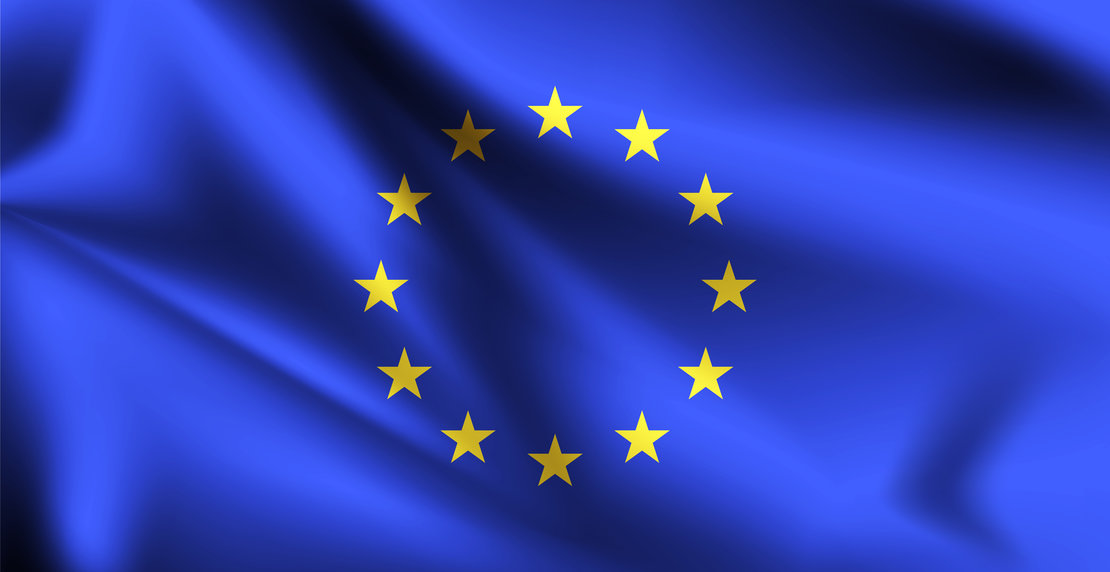European Union flag blowing in the wind. Part of a series. European Union waving flag.