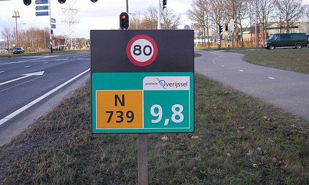 hectometerbord N739 9,8km 80km/uur provincie Overijssel