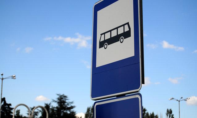 Bus stop metal sign