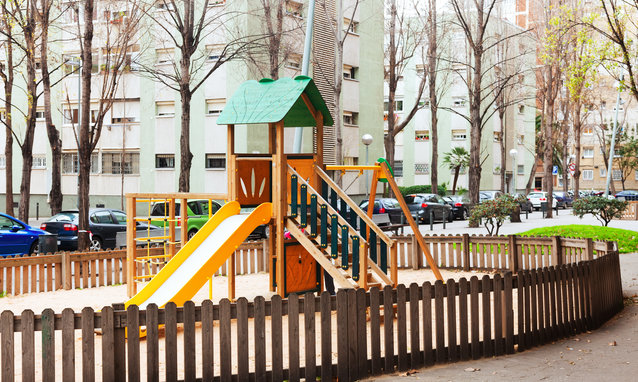 Wooden playground area