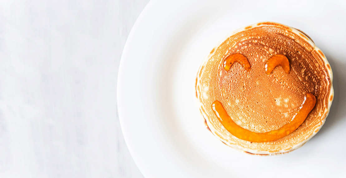 Fresh,Classic,Pancake,Stacked,In,Stack,On,Gray,Background,With