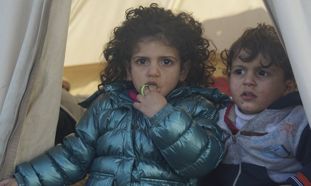 Underaged refugees in a camp located at the northeastern Greek island of Lesbos,  30 January 2016.